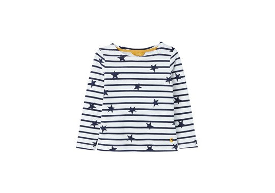 Joules Girls Harbour Print long Sleeve Top Navy Star