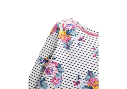 Joules Girls Harbour Print Navy Stripe Floral