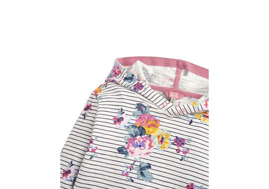 Joules Girls Marlston Hooded Sweatshirt Navy Floral Stripe