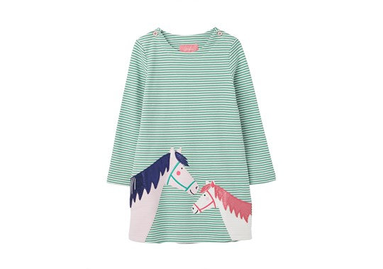 Joules Girls Kaye Applique Dress Green Blue Horse