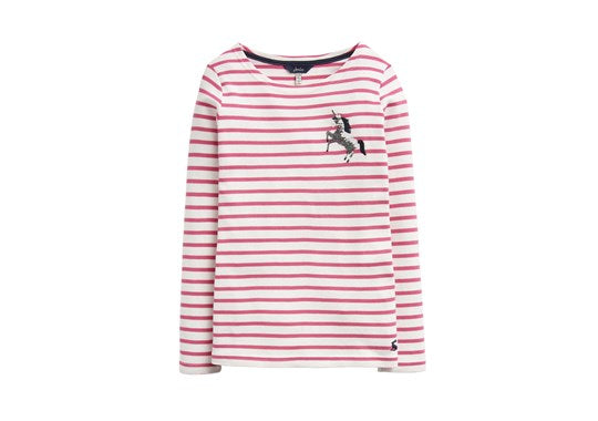 Joules Girls Harbour Luxe Embellished Pink Unicorn Stripe