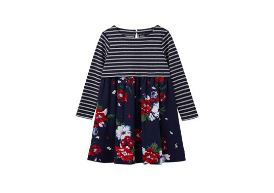Joules Girls Layla Hotch Potch Dress Navy Floral
