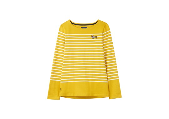 Joules Ladies Harbour Long Sleeve Embroidered Jersey Top Antique Gold with Sausage Dog