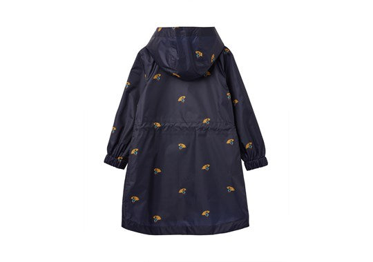 Joules Girls Golightly Navy Ducks Waterproof Packaway Coat