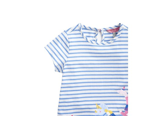 Joules Girls Pixie Screen Print Shirt Blue Dino