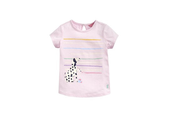 Joules Girls Pixie Screen Print T Shirt Chalk Pink Dalmations