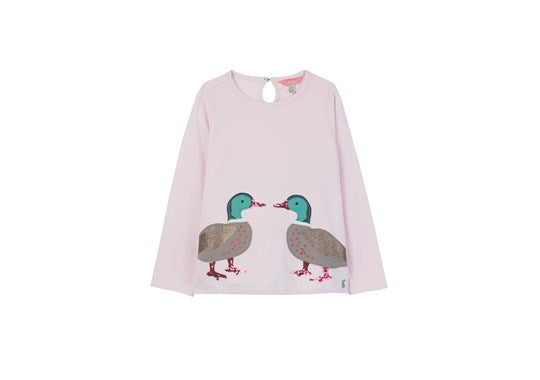 Joules Girls Ava Applique T-Shirt Chalk Pink Ducks