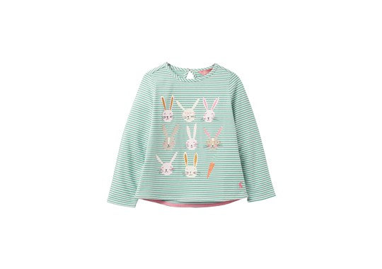 Joules Girls Bessie Screen Print Long Sleeve Top Green Bunny Stripe