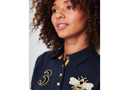 Joules Ladies Claredon Ladies Polo Shirt Busy Bee in Marine Navy