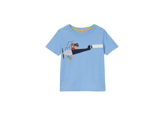 Joules Boys Chomp Short Sleeve Applique T Shirt Blue Plane