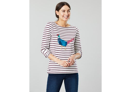 Joules Ladies Harbour Luxe Embellished Cream Wine Stripe Embellished Pheasant