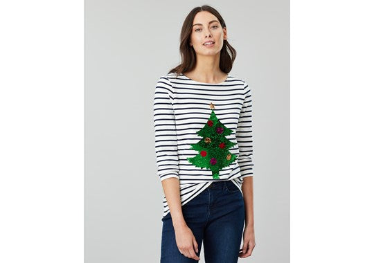 Joules Ladies Harbour Long Sleeve Top  Luxe Embellished Christmas Tree Sequins