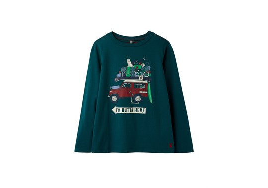 Joules Boys Finlay 30th Anniversary Long Sleeve T Shirt Green 4 x 4
