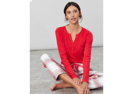 Joules Ladies Cici Long Sleeve Ribbed Jersey Pyjama nightwear  Top Red