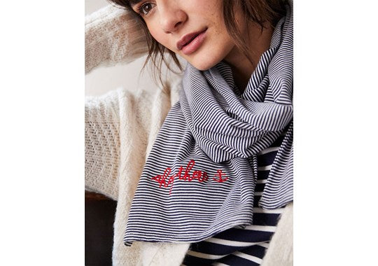 Joules Ladies Coast Scarf Striped Embroidered Scarf Navy