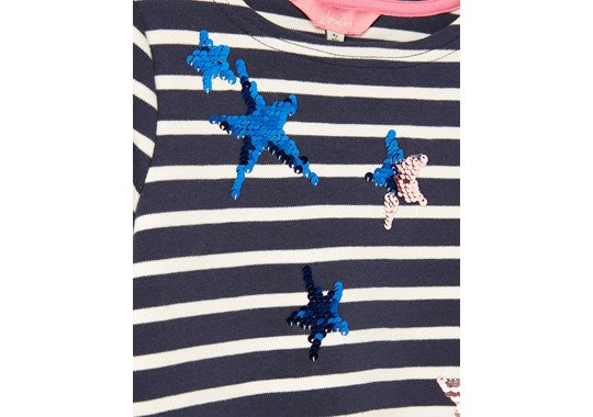 Joules Girls Riviera Luxe Long sleeve Dress Navy Star Stripe