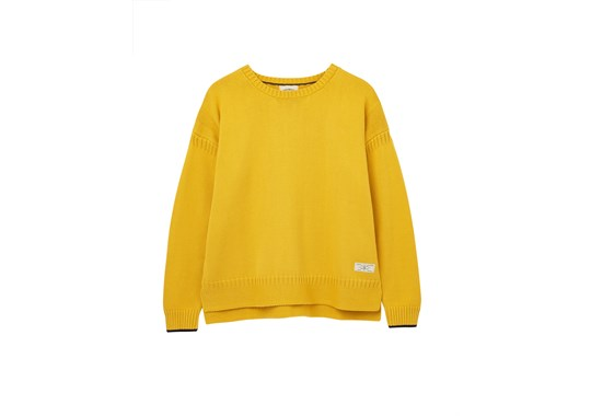 Joules Ladies Luciana Boxy Jumper Guernsey Knit Mustard Antique gold