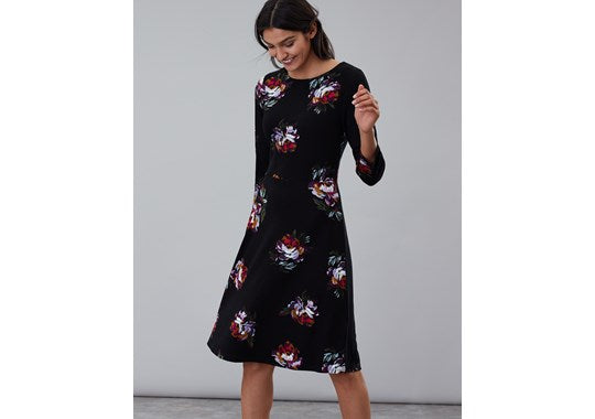 Joules Ladies Shay Print Long Sleeve Waisted Jersey Dress