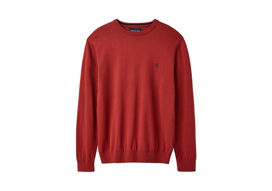 Joules Mens Jarvis Cotton Crew Neck Jumper Soft Red 207997