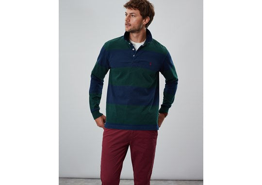 Joules Mens Onside Long Sleeve Stripe Rugby Shirt Green Block Stripe