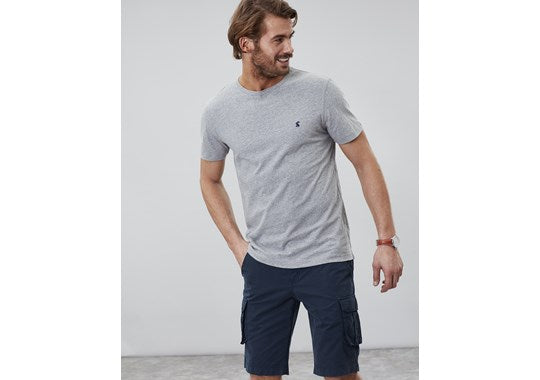 Joules Mens Denton Solid Crew Neck Tee Grey Marl