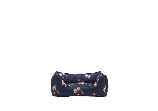 Joules Rosewood Pet Dog Bed Percher Navy Floral