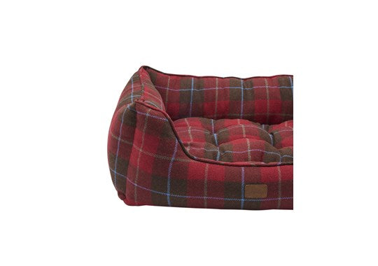 Joules Rosewood Pet Dog Bed Tweed Percher Red Tartan