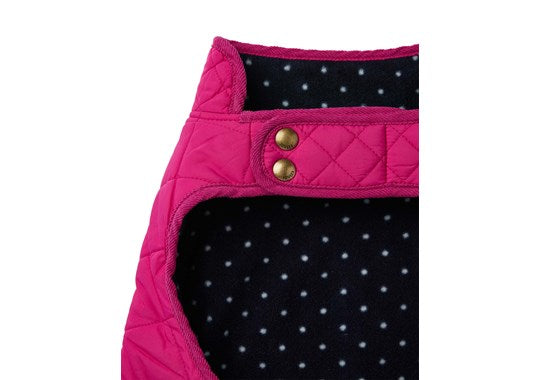 Joules x Rosewood Pet Dog Coat Newdale Quilted Jacket Pink