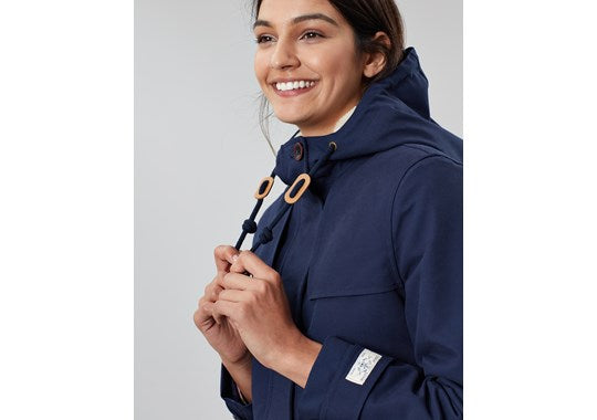 Joules Ladies Coast Cosy Mid Fleece Lined Waterproof Jacket Navy