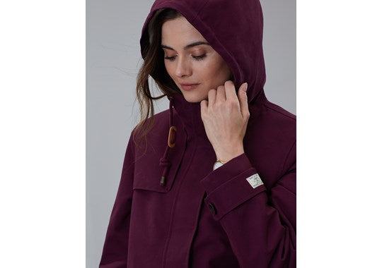 Joules Ladies Coast Cosy Mid Fleece Lined Waterproof Jacket Plum