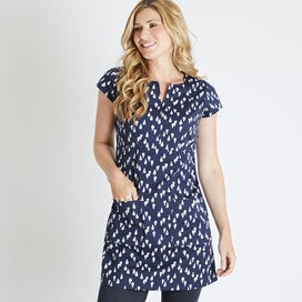 Weirdfish Ladies Reve Printed Stretch Tunic Dark Navy