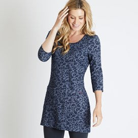 Weirdfish Ladies Ola Floral Jacquard Tunic Dark Navy
