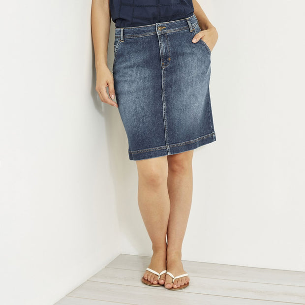 WeirdFish Ladies Ria Dark Denim Skirt