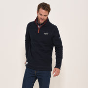 Brakeburn Mens Zip Neck Sweater Top Navy