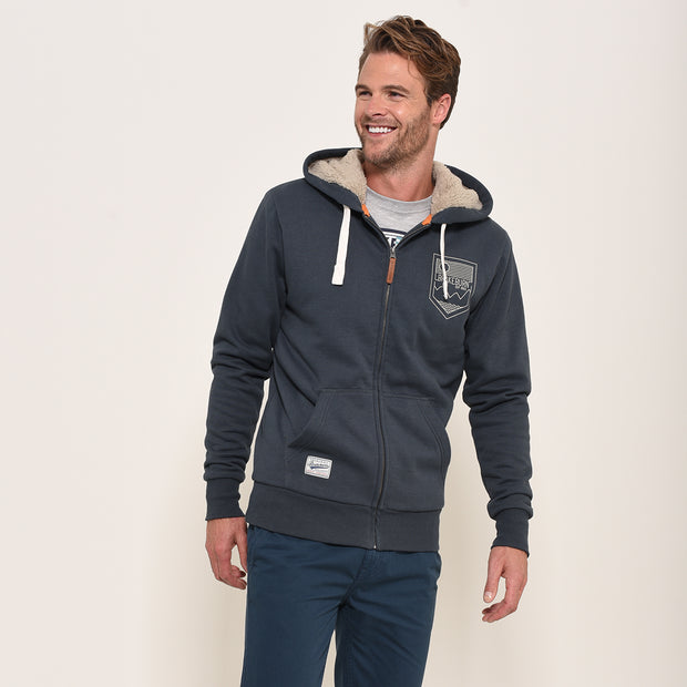 Brakeburn Mens Borg Lined Zip Through Hoodie