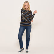 Brakeburn Ladies Bella Crew Cotton Long Sleeve Top Navy