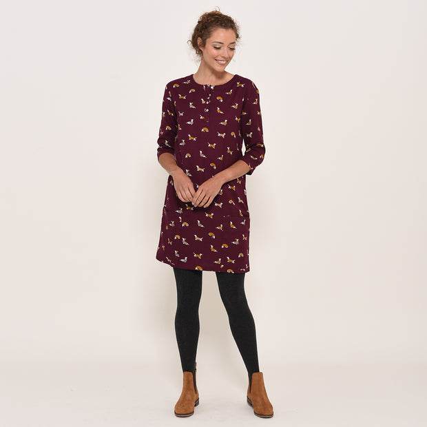 Brakeburn Ladies Sausage Dog Shift Dress Berry