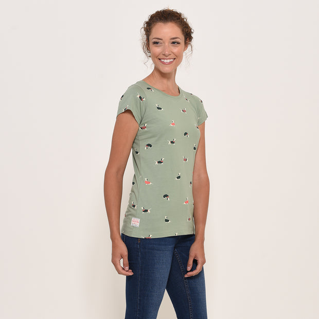 Brakeburn Ladies Sausage Dog T Shirt Soft Green