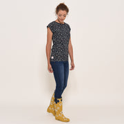 Brakeburn Ladies Ditsy Print Short Sleeve T Shirt Navy
