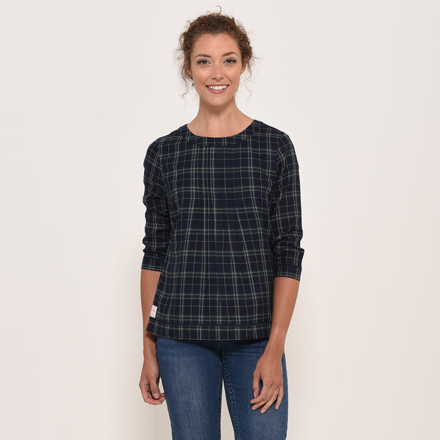 Brakeburn Ladies Checked Cotton Blouse Navy Green