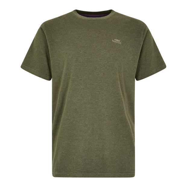 Weirdfish Mens Fished Branded Graphic T-Shirt Dark Olive Marl