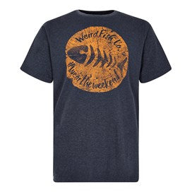 Weirdfish Mens Woodcut Branded T-Shirt Navy Marl
