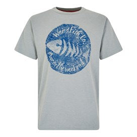 Weirdfish Mens Woodcut Branded T-Shirt Gunmetal Marl
