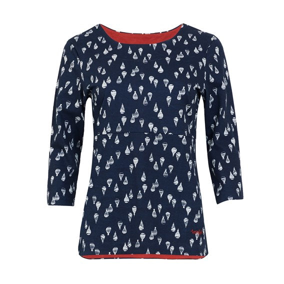 Weirdfish Ladies Pinto Printed Jersey Tee Top Dark Navy