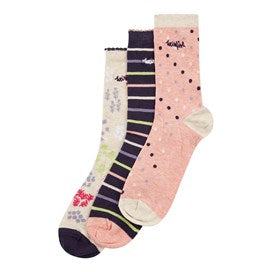 Weirdfish Ladies Parade Patterned Sock 3-Pack Chalk