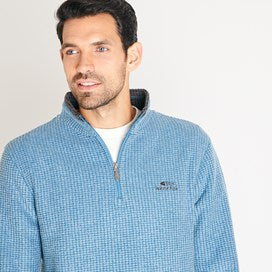Weirdfish Mens Newark 1/4 Zip Grid Fleece Sweatshirt Deep Sea Blue