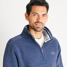 Weirdfish Mens Knock 1/4 Zip Branded Fleece Navy Marl