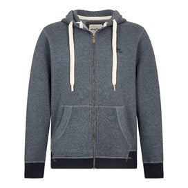 Weirdfish Mens Bruno Branded Full Zip Hoody Navy Marl