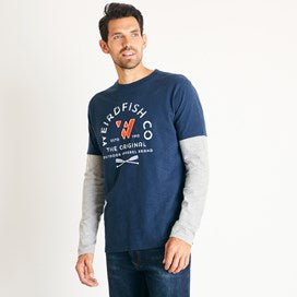Weirdfish Mens Original 1993 Applique Long Sleeve Tee T-Shirt Navy