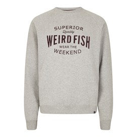 Weirdfish Mens Kane Graphic Print Crew Neck Loopback Sweat Grey Marl